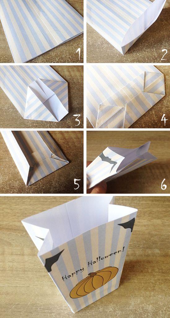 Printable HALLOWEEN (zakje) - Een tutorial om van de printable voor Halloween, verkrijgbaar bij P&P, een papieren zakje te vouwen! www.postenpapier.nl/diy-halloweenzakje-vouwen/