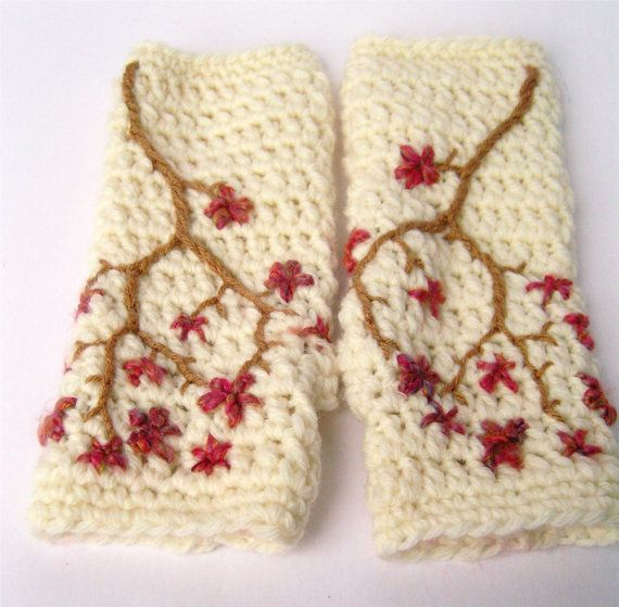 Superwash Merino Wool Cherry Blossom Fingerless Gloves by LoveFuzz, $52.00