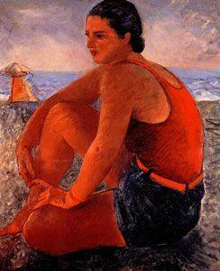 "Achille Funi (Italian, 1890-1972) - ""Bagnante"" (Bather), 1929"