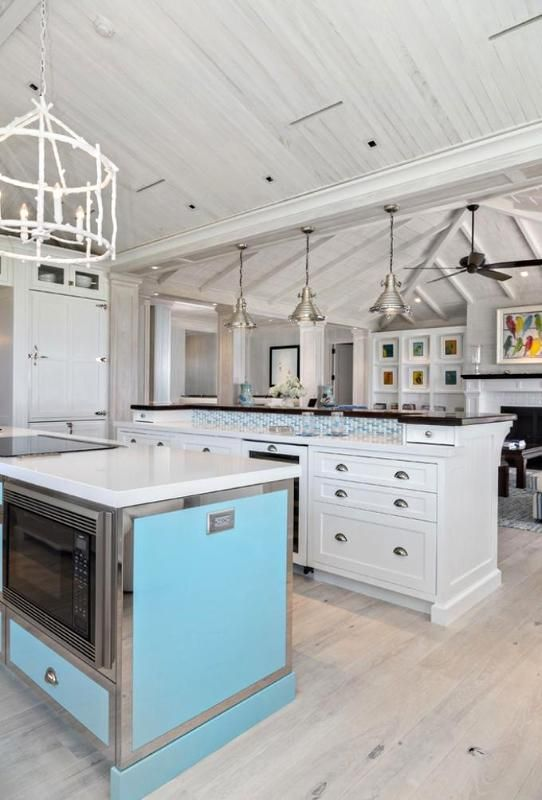 Delightful Beach House In Bright Color Sleek Traditional Kitchen Fancy Chandelier Florida Cottage