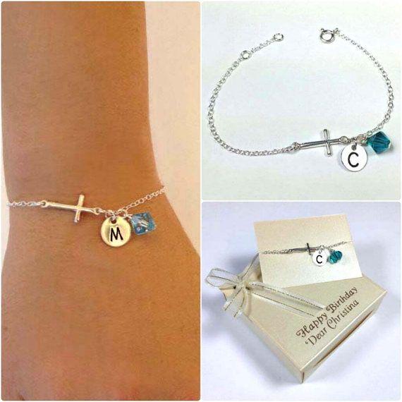 Sterling silver cross bracelet monogram bracelet by FASHIONGURUS