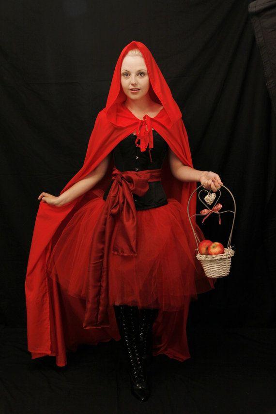 Red riding hood steel boned halloween corset by AliceAndWillow, $170.00