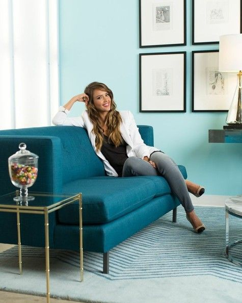 Jessica Alba's office via Lonny - blue sofa