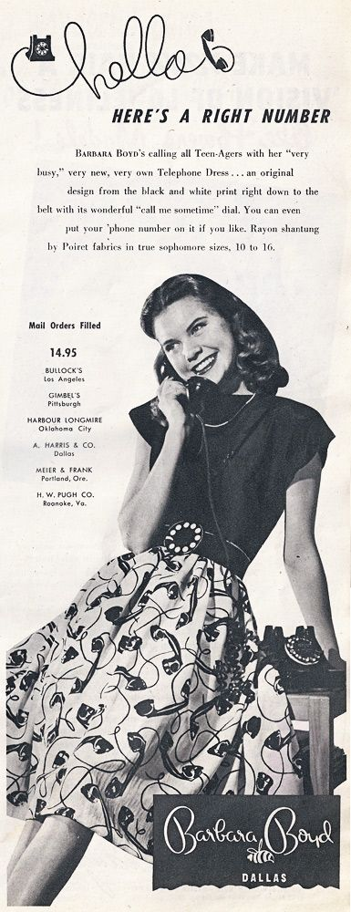 novelty telephone print from 1947 - this reminds me of Elizabeth Taylor's outfits in A Date With Judy.