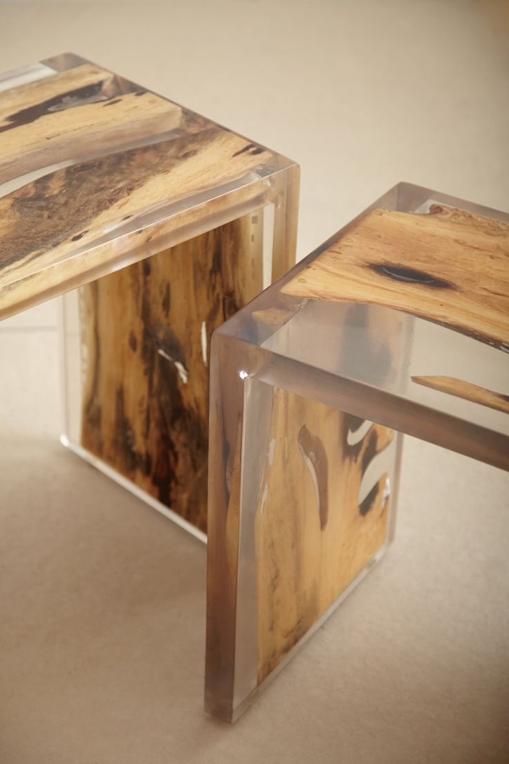 Encased Nesting Table, resin wood. would be amazing kitchen table and chairs