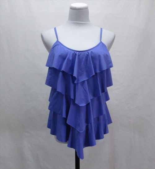 14.46$  Buy here - http://vilau.justgood.pw/vig/item.php?t=bf9q2l20873 - Cole of California PURPLE Tankini Swimsuit Top Ruffled Tiered Adjustable Straps 14.46$