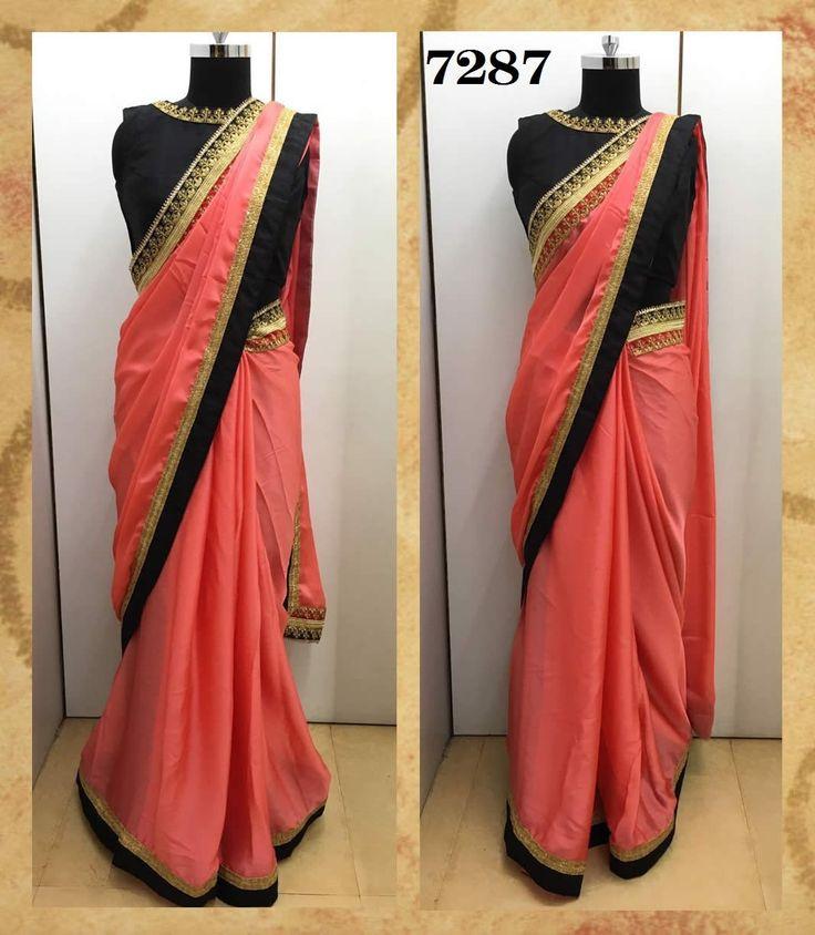 buy saree online Designer Inspired Peach Colour Pure Satin Chiffon Saree Buy Saree online - Buy Sarees online
