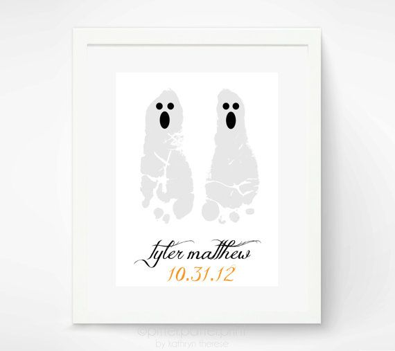 Halloween Decoration Ghost Baby Footprint Art Print - Personalized Kids Halloween Decoration - Baby's First Halloween