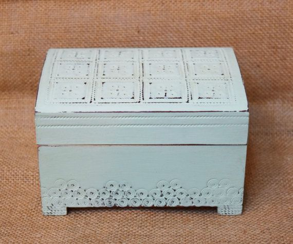 Mint Green Chalk Painted Decorative Wooden Box by AllMyAdornments