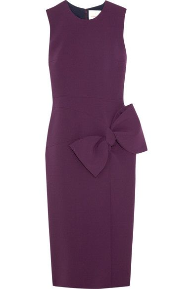 Roksanda - Laurana Bow-embellished Stretch-cady Dress - Dark purple - UK