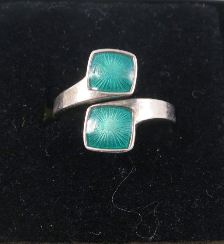 Vintage Scandinavian Norway Aksel Holmsen Sterling Silver Green Guilloche Enamel Adjustable Ring- Currently size 6 by Framarines on Etsy