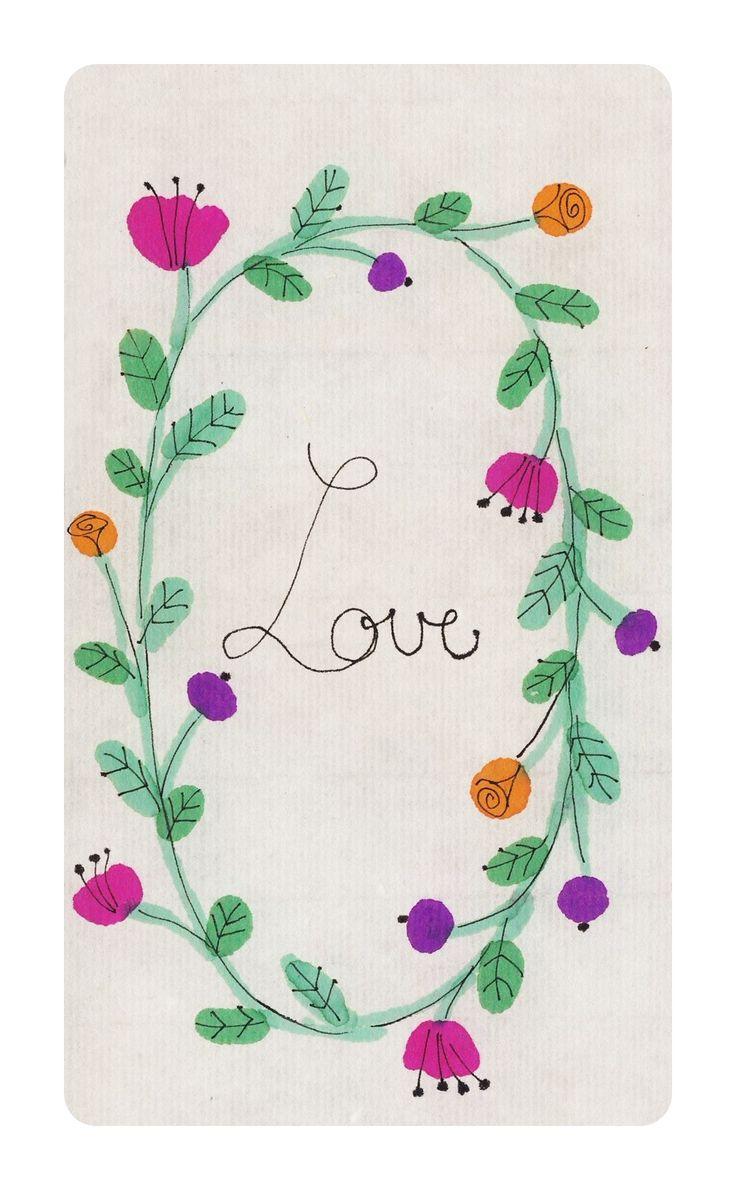 PEACE LOVE FLOWERS ricepaper, ink
