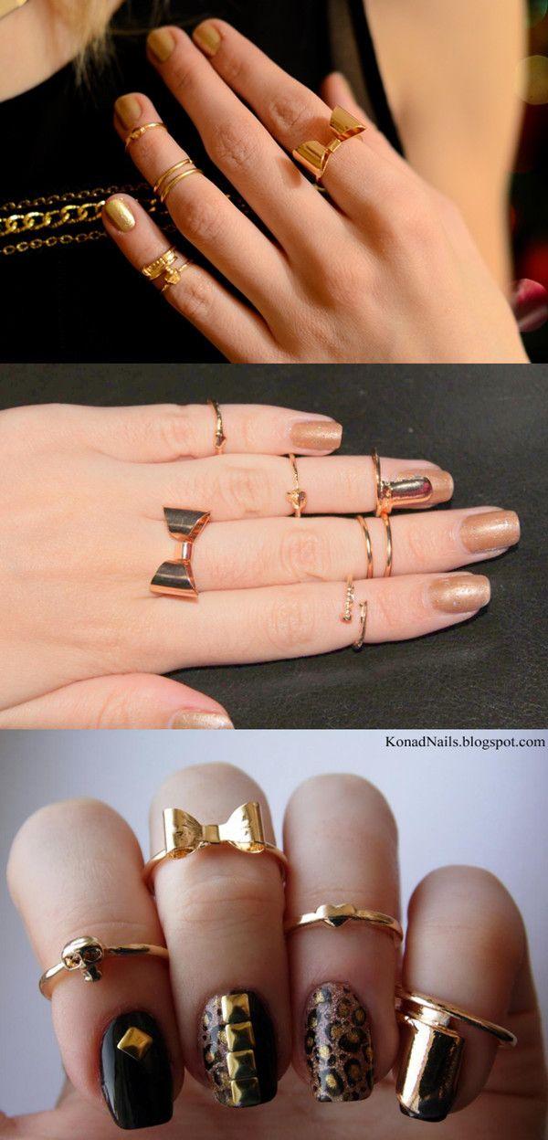 $2.95 7Pcs/Set Shiny Nail Ring Deliacte Bow Heart Skull Design Knuckle Ring - BornPrettyStore.com