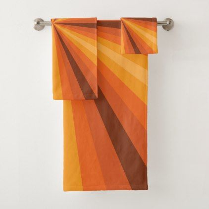 #Optical Illusion Orange Bathroom Towel Set - #Bathroom #Accessories #home #living