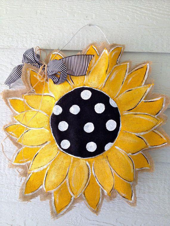 Burlap+Sunflower+Door+Hanger+by+Snickledoodles+on+Etsy,+$32.00