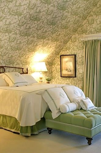 Green And White Toile Bedroom By Meg Braff