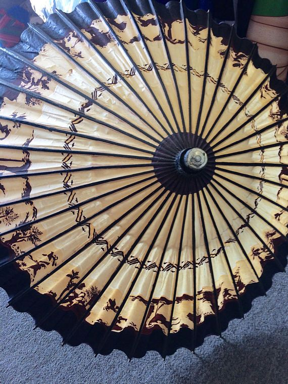 Vintage Rare Japanese Bamboo and Oil Paper Umbrella or Parasol