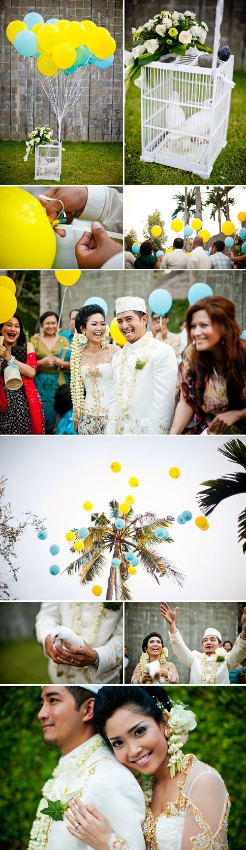 Traditional cultures but in a more modern, outdoor setting and in addition, also include the Balinese culture with the decor, balinese flower girls and umbrella boys. Designs based on the Indonesian folklore Rama and Shinta (invitations, party favors and figurines on the main table).