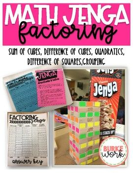 Use this game for review of factoring skills. This is a great break from worksheets and task cards. Students can play individually or in teams. Answer keys are included. Factoring topics covered: Sum of Cubes Difference of Cubes Grouping Difference of Squares Quadratics ***Jenga pieces should be color