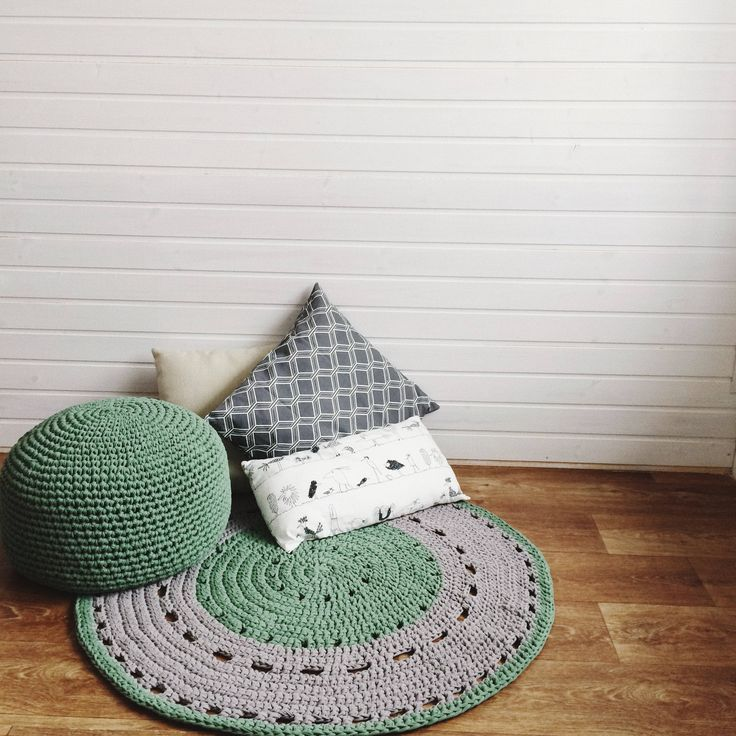 Round Hand Crochet Rug/ Rug / Floor Rug / Kids Room Rug / Green Rug / Grey rug / Scandinavian rug / Round rug/ Kids cotton rug by MyCozyStudio on Etsy