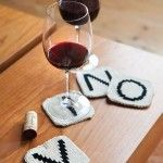 letter tile coasters!: Wine, Diy Coasters, Gifts Ideas, Knits Coasters, Knits Patterns, Letters Tile, Knits Letters, Coasters Patterns, Tile Coasters