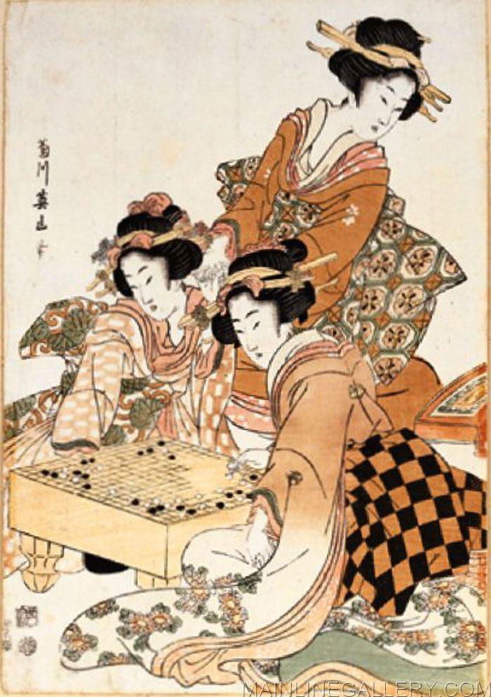 Japanese Women Playing Go By Kikukawa Eizan