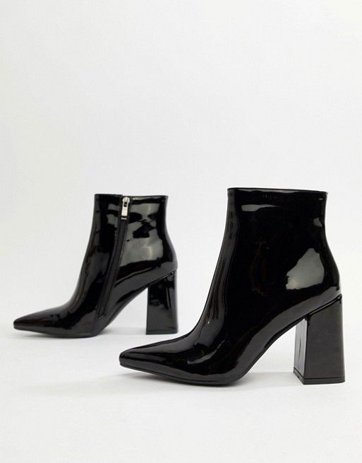 f32f9644842 Public Desire | Public Desire Empire black patent block heeled ankle boots
