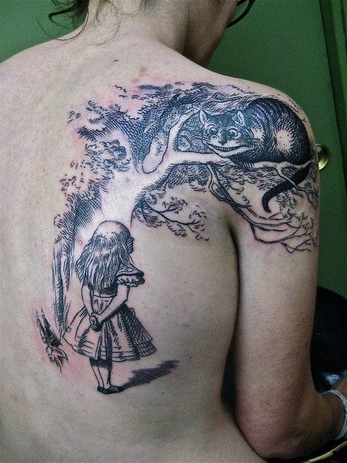 Alice in Wonderland tattoo, tattooed women, beautiful back ...