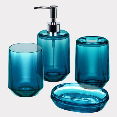 Immanuel Gemme 4 Piece Bathroom Accessory Set Color: Peacock Blue