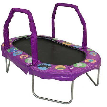 "38"" x 66"" Mini Oval Trampoline w Purple Pad. Shop now - FREE Shipping! #trampoline"