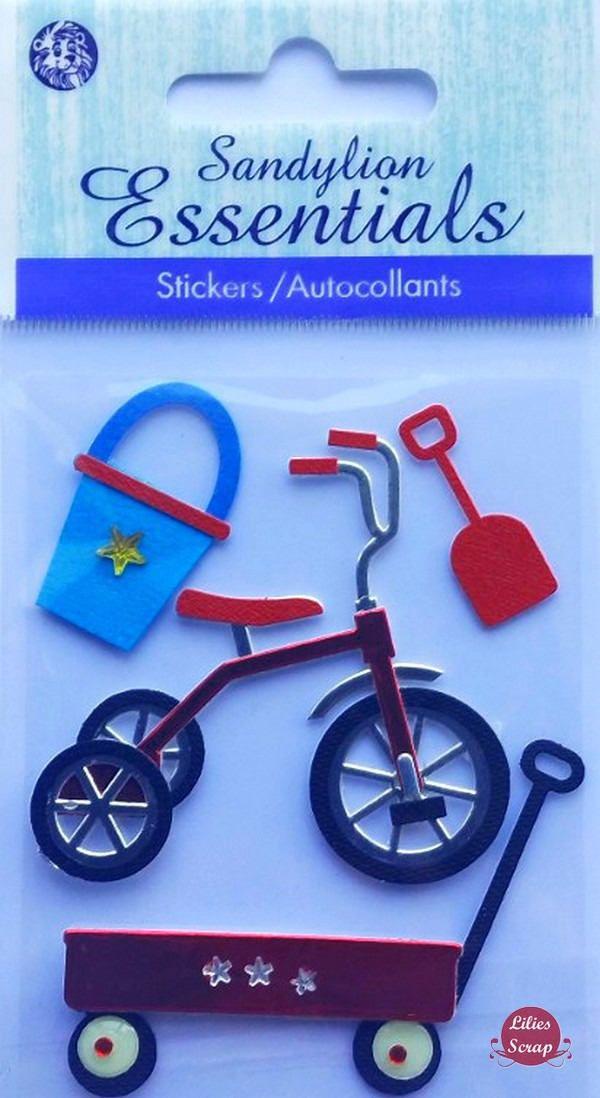 Stickers 3D jouets vélo pelle seau... Sandylion scrapbooking carterie créative de la boutique LiliesScrap sur Etsy