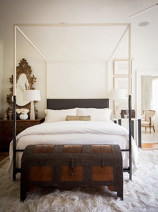 bedroom white and dark wood