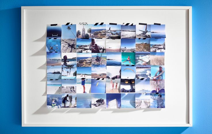 For IKEA Interior Designer Jenny Wik, Summer is about clear blue skies and deep blue seas. So she worked around this blue theme to create a large photo collage. She left the glass out and attached the pictures to the frame with tape. This way, the pictures seem to ripple like water, providing a tangible reminder of sunny summer memories by the sea.