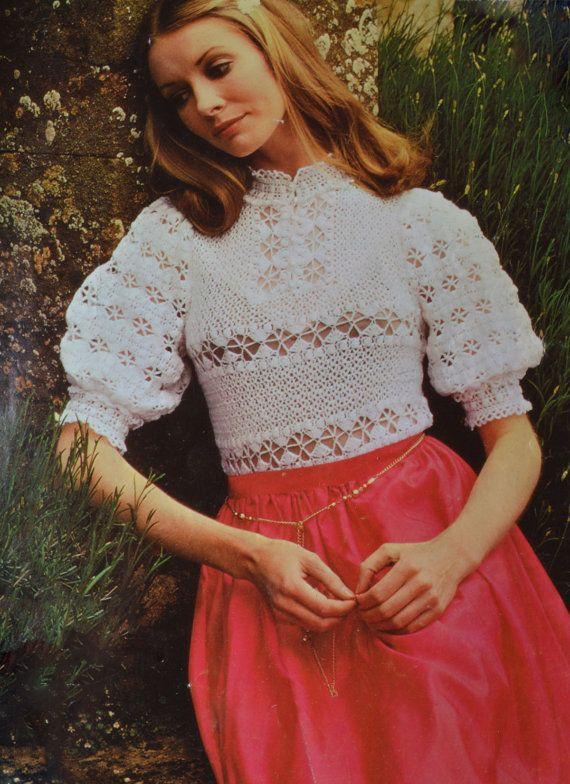 PDF Vintage crochet blouse pattern crocheted evening blouse pdf INSTANT download pattern only pdf 1970s