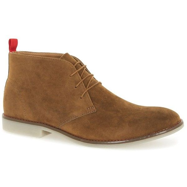 TOPMAN Tan Faux Suede Chukka Boots with Transparent Sole ($46) ❤ liked on Polyvore featuring men's fashion, men's shoes, men's boots, brown, mens brown chukka boots, mens chukka boots, mens tan boots, mens chukka shoes and mens brown shoes