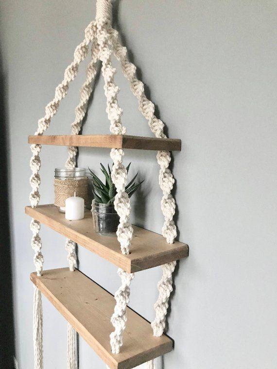 Twisted Macrame Hanging Shelf // Wooden Hanging Shelf // Boho Decor // Modern Macrame // Nautical Decor // Beach House Decor