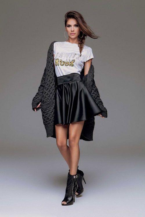 Abbigliamento Denny Rose 2015 Catalogo Autunno Inverno Mini Gonna Con  Cardigan Ampio