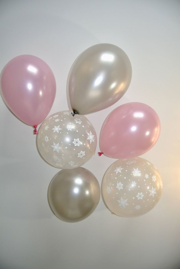 Pink, Silver & Snowflake Balloons. Winter Onederland First Birthday. Winter Baby Shower. Snowflake Balloon. Wonderland Party Decor by PaperRabbit87 on Etsy