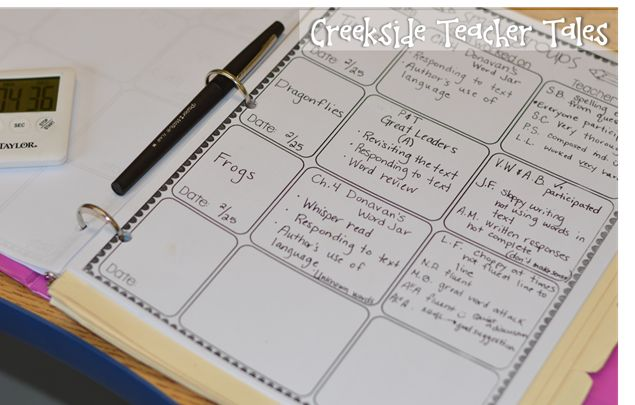 guided reading notes and lessons (create a template and binder)