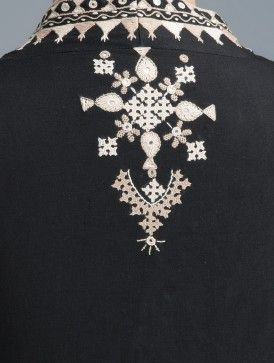 Black-Off White Embroidered Cotton Blouse With Ikat Sleeve