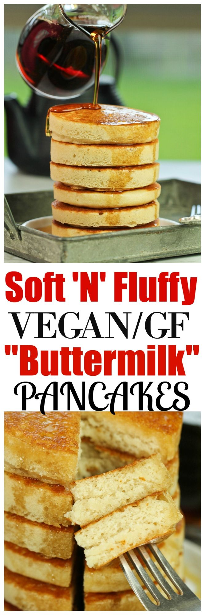 Unbelievably Soft 'N' Fluffy Gluten-Free Buttermilk Pancakes that are so impressive, nobody will believe they are vegan, gluten-free or made without any butter! Just 8 ingredients is all you need and throw everything into one bowl for easy prep.