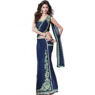Shop Now - http://www.valehri.com/bright-blue-lehenga-saree