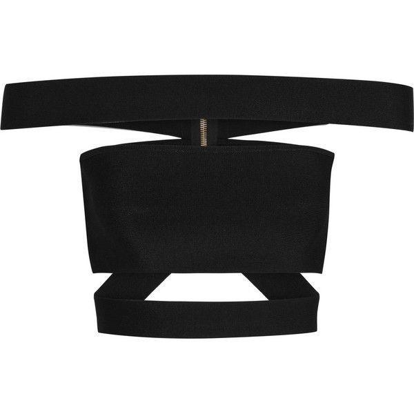 Balmain Cropped cutout stretch-knit top (845 BRL) ❤ liked on Polyvore featuring tops, crop top, balmain, shirts, crop, black, zip shirt, zipper shirt, form fitting shirts and zipper top