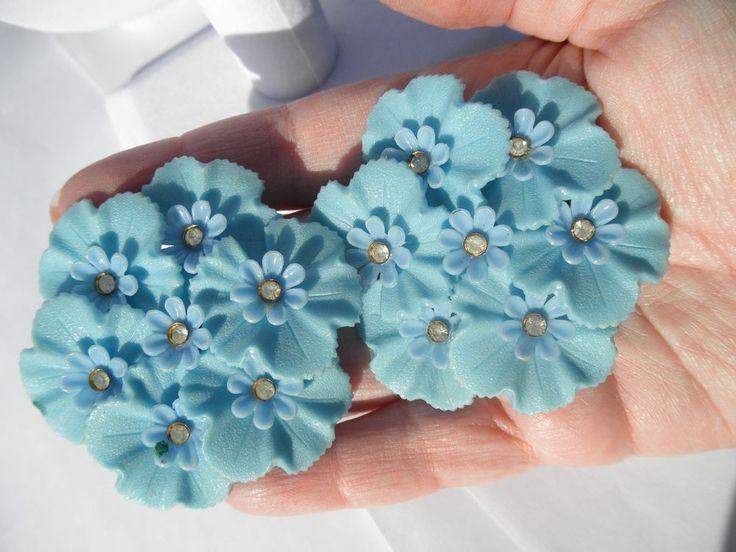 """Vtg HUGE 2.5"""" Baby Blue Plastic Flower Rhinestone Earrings Clip On 1950s #Cluster"""