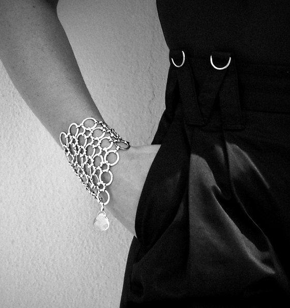 Wrap Around Mesh Bracelet with Swarovski Crystal by VQ STUDIO™.