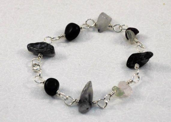 Joy Manifestation Bracelet, Focus Jewelry, Gold Sheen Obsidian, Rose Quartz, Garnet, Prehnite, Tourmalinated Quartz, and Argentium Silver