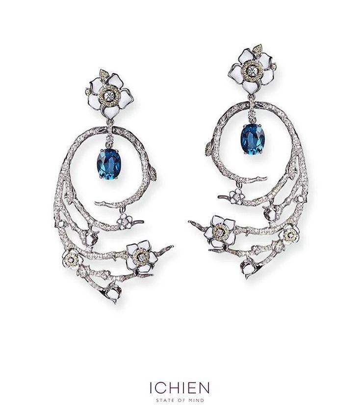 "Polubienia: 187, komentarze: 3 – ICHIEN (@ichienjewellery) na Instagramie: ""Серьги ""Сакура"" Золото, бриллианты, сапфиры и топаз. #ICHIEN #ichienjewellery #sakura #luxury…"""