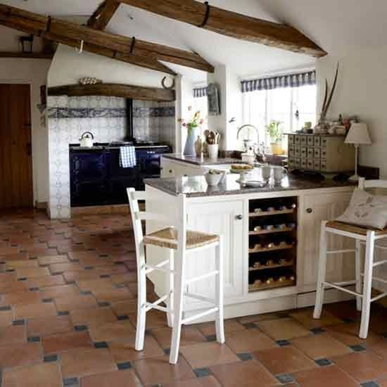 Cottage Kitchen Flooring Continued: Country Kitchen Breakfast Bar
