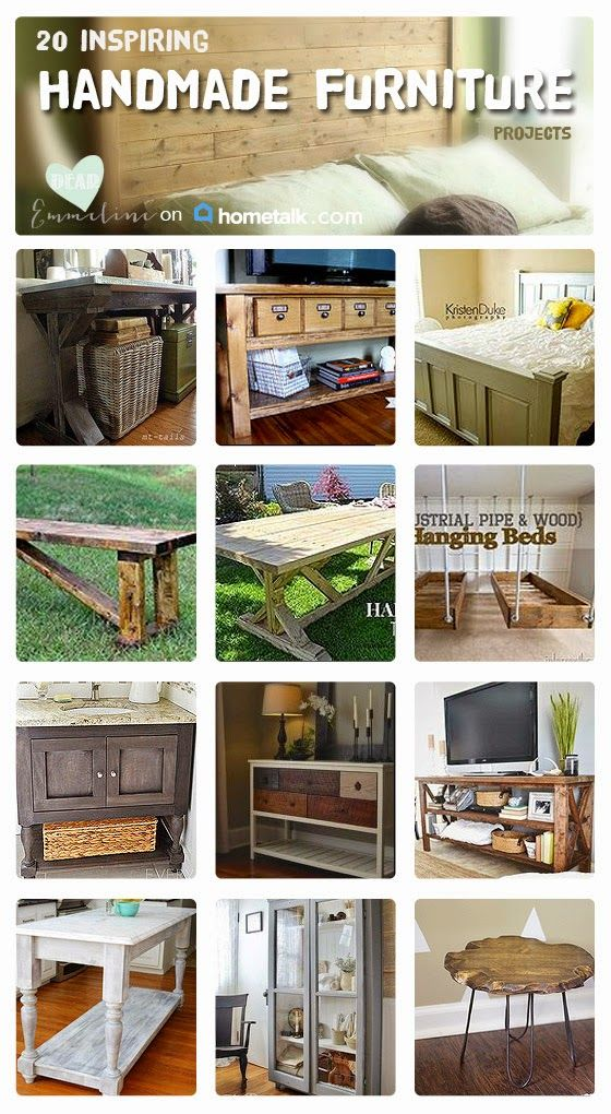 Nothing compares to the look and quality of a handcrafted piece of furniture. Get inspiration for your own home with these 20 handmade furniture projects--wait until you see the hanging beds...wow!