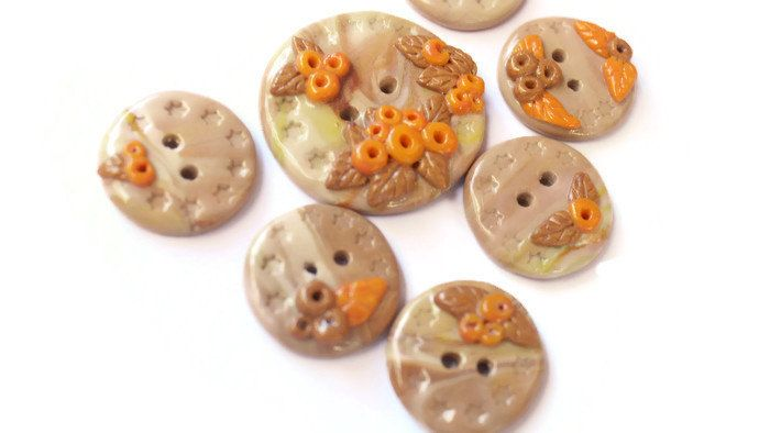 Beige buttons berries orange buttons for sweater buttons for coat baby decoration for clothes decoration for card polymer clay dressing up by LittleHappyBoom on Etsy